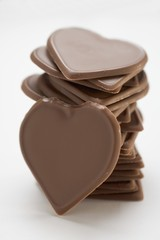 Chocolate hearts, in a pile