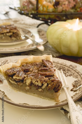 Piece of pecan pie for Thanksgiving