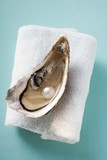 Fresh oyster with pearl on towel