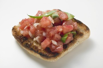 Bruschetta with tomato salsa and basil