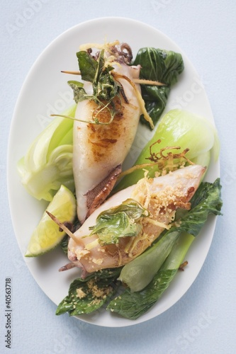 Stuffed cuttlefish with pak choi