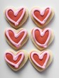 Heart-shaped biscuits with red icing