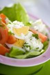 Lettuce, egg, tomato and yoghurt dressing