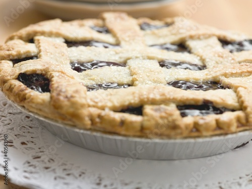 Blueberry pie with pastry lattice