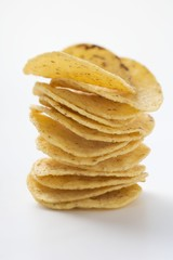 Tortilla chips, stacked
