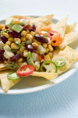 Nachos with beans, sweetcorn, avocado and chilli rings