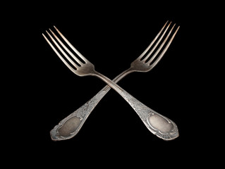 antique silverware table  fork silver over black