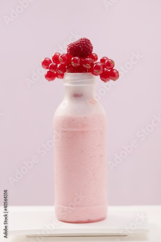 Berry shake in plastic bottle