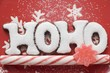 Christmas sweets (the word HOHO, candy cane, sweet)