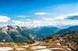 Mountain panorama with clouds and blue sky from Fiescheralp