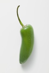 Green chilli (Jalapeño) with drops of water
