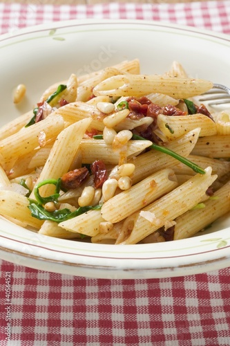 Penne with dried tomatoes and pine nuts