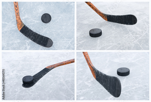 Ice hockey stick and puck collage