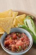 Tomato salsa, nachos and fresh chilli