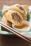 Spring rolls with mince filling and dip (Asia)