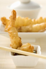 Deep-fried shrimps in batter with soy sauce (Asia)