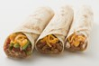 Three different burritos
