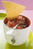 Tomato salsa in pot with spoon and nacho (Mexico)
