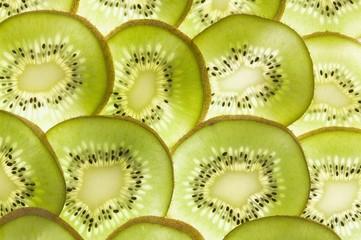 Kiwi fruit slices (backlit)