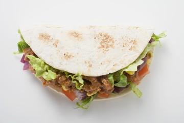Mince taco (overhead view)