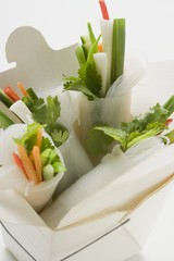 Rice paper rolls with vegetable filling in take-away container