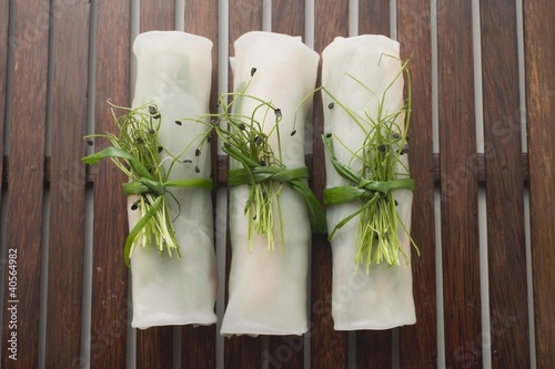 Three rice paper rolls from above (Asia)