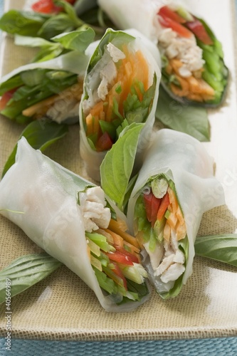 Rice paper rolls filled with chicken and vegetables (Asia)