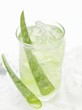 Aloe vera juice with ice cubes