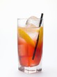 Campari Soda with lemon peel and ice cubes