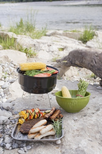 Barbecue on a river bank