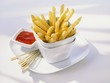 Chips in stacked pots with ketchup