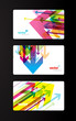 Set of abstract colorful gift cards with arrows.