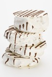 White nougat with chocolate drizzle