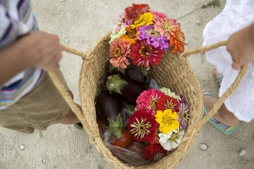 Children Holding Basket with Items from Farmer's Market