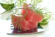 Fresh tuna fillet with slices of lime