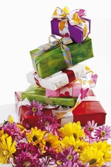 Gifts in summery wrappings, chrysanthemums