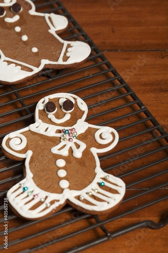 Decorated Gingerbread Cookie on Cooling Rack
