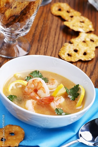 Bowl of Lemon Shrimp Soup; Crispy Crackers
