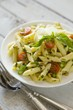 Penne Pasta with Tomatoes, Asparagus and Pine Nuts