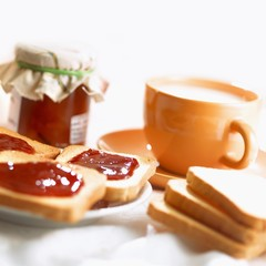 Toast and jam and a cup of milk