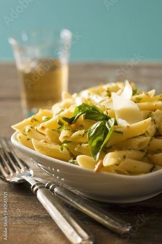 Penne Pasta with Basil and Parmesan Cheese