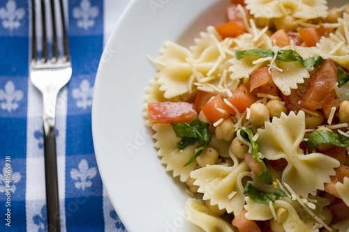 Bowl of Pasta Salad with Chickpeas, Tomatoes and Fresh Herbs