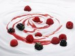 Natural yogurt with raspberries, blackberries and fruit sauce