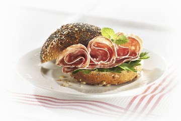 Salami in poppy seed roll