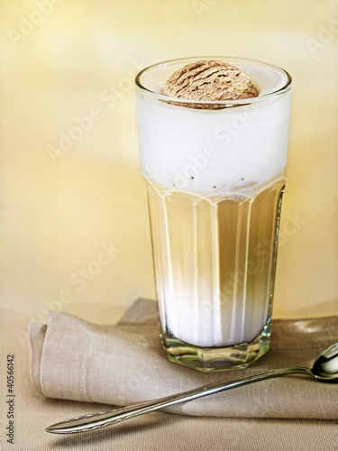 Latte macchiato with cappuccino ice cream