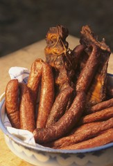 Selchwurst (smoked sausage) and smoked ribs