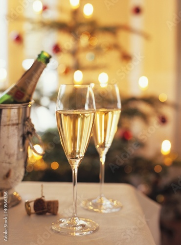 Two glasses of sparkling wine for Christmas party