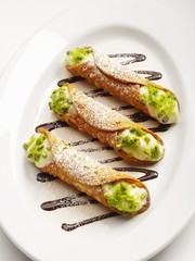 Cannoli (Pastry rolls with ricotta cream filling, Italy)