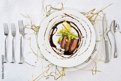 Sliced Beef Sirloin with Port Wine Sauce, Potato and Celery