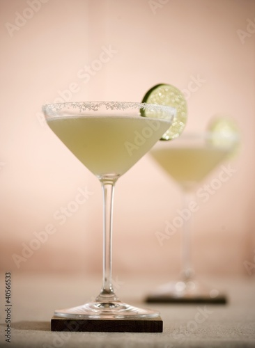 Margarita in a Salted Rim Glass with Lime Garnish